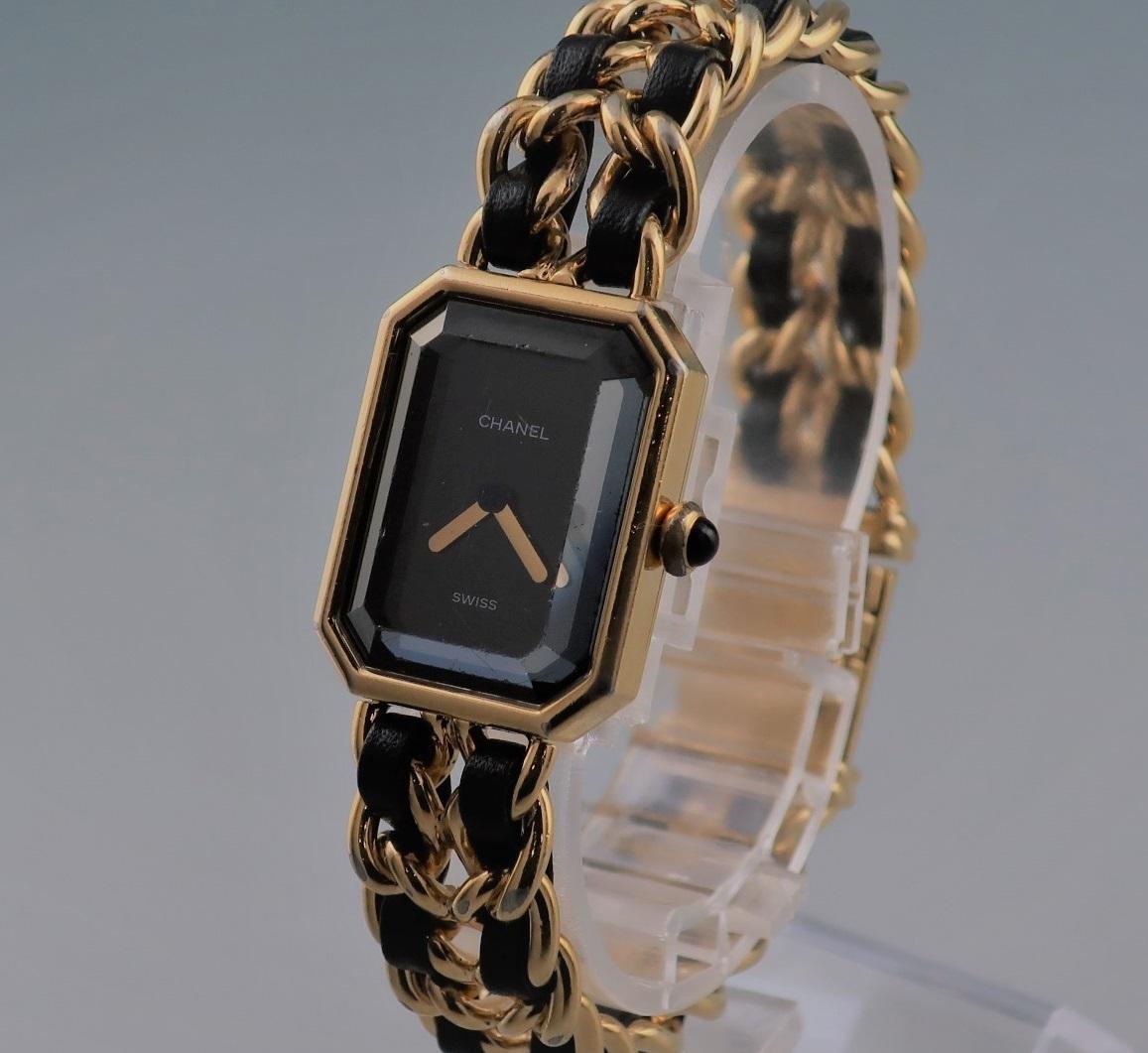 本物 1円 シャネル プルミエール Lサイズ H0001 レディース ウォッチ ゴールド 婦人 女性 中古 腕時計