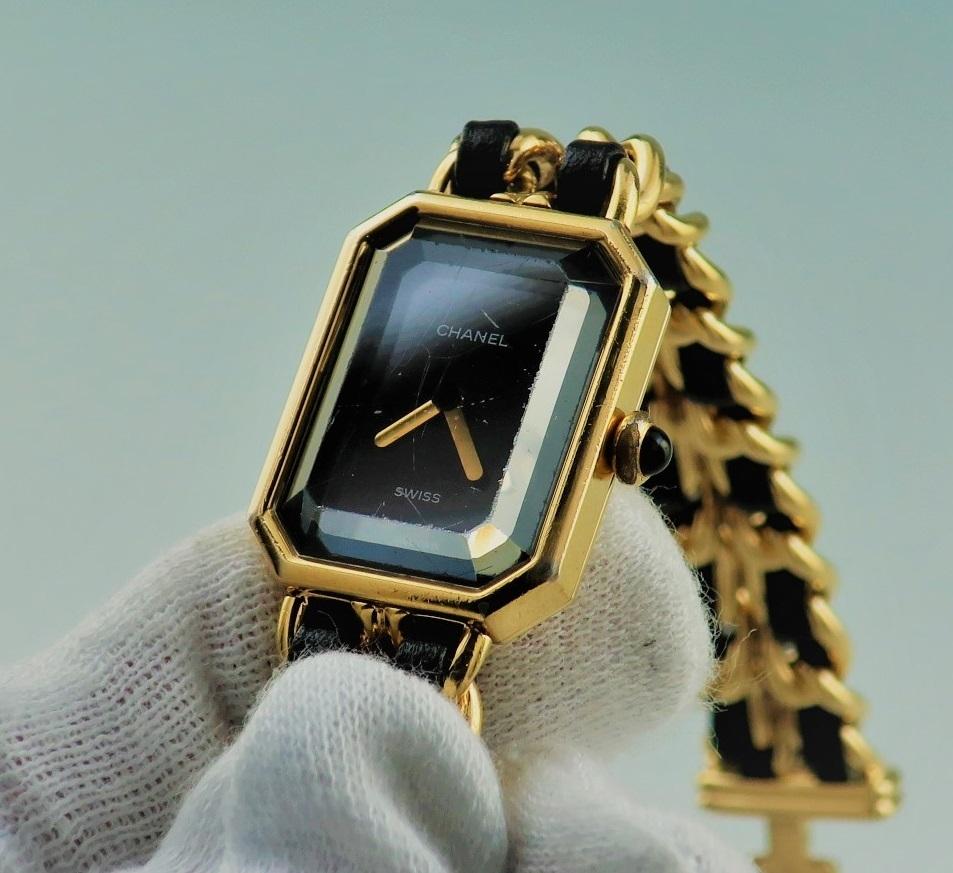 本物 1円 シャネル プルミエール Lサイズ H0001 レディース ウォッチ ゴールド 婦人 女性 中古 腕時計_画像4