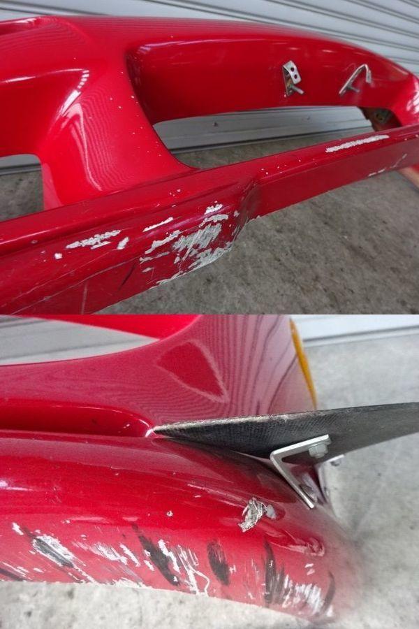 藤田エンジニアリング FD3S RX-7 前期 アフラックス フロントカウル Ver.1 フロントバンパー エアロFRP 赤 + カーボンカナード付 13B_ガリ 剥がれ