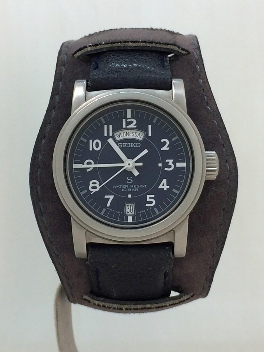 SEIKO◆7N33-6050/クォーツ腕時計/アナログ/レザー/NVY/NVY