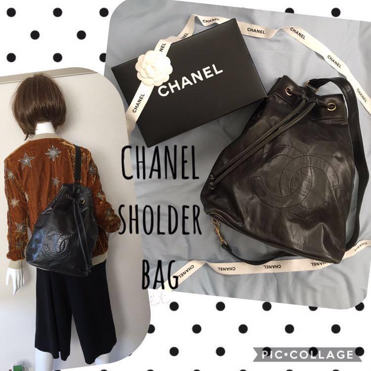 シャネル ワンショルダーバッグ ボディバッグ ラムスキン デカココ 黒 メッセンジャーバッグ 巾着 ポーチ付き ユニセックス メンズ