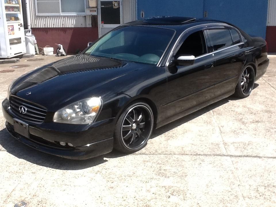 逆輸入 インフィニティ Q45 人気の黒 黒革 サンルーフ 新品アルミタイヤセット ベース車