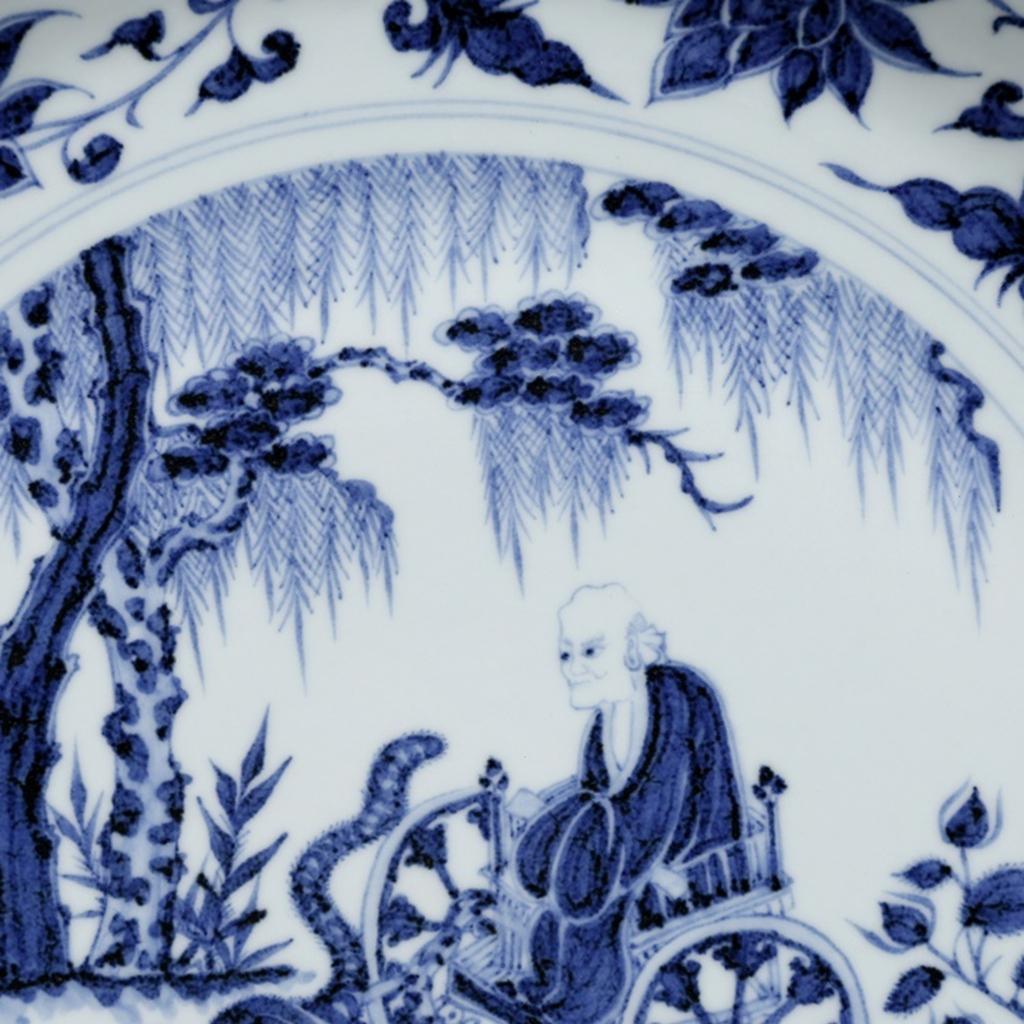 【多寶屋】YB7■元時代 青花染付鬼谷子下山輪花口大盤 珍品■_画像7