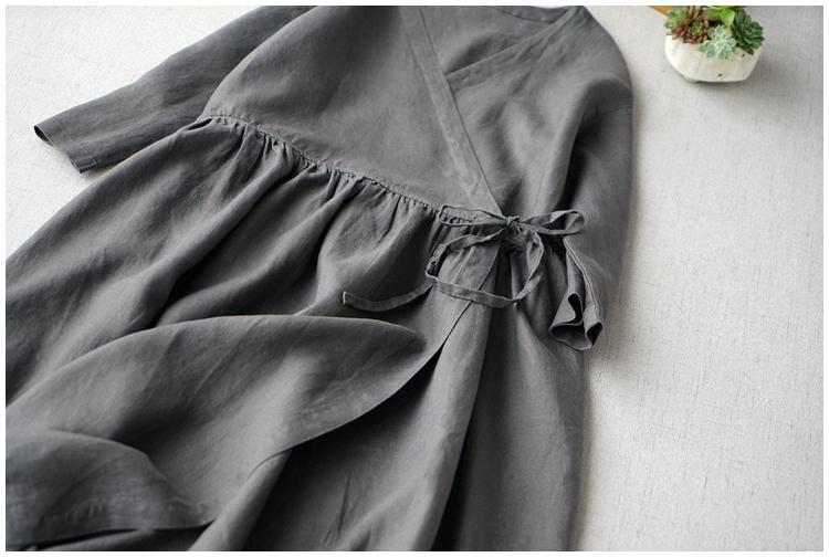 レディース カーディガン 七分袖 リネン ストラップ ワンピースひざ丈スカートロングスカート スカート 濃い灰_画像4