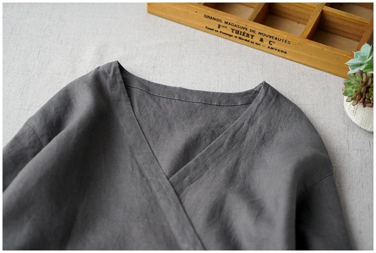 レディース カーディガン 七分袖 リネン ストラップ ワンピースひざ丈スカートロングスカート スカート 濃い灰_画像2