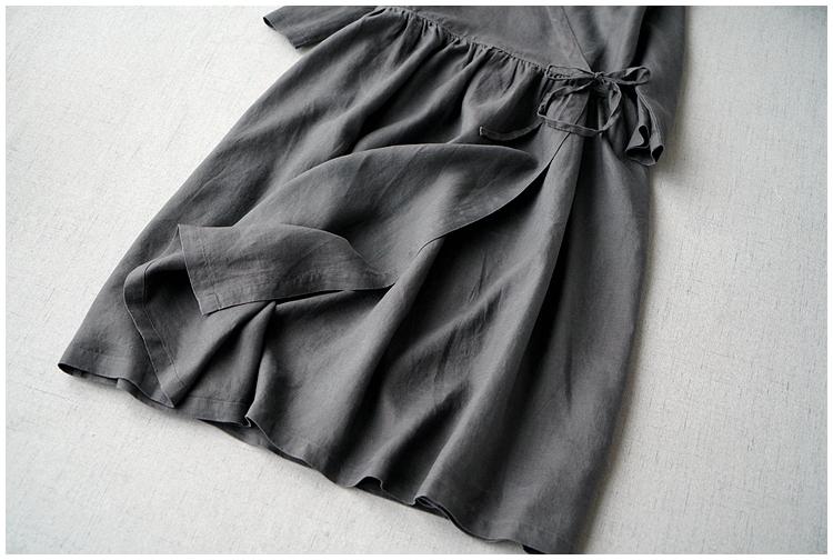レディース カーディガン 七分袖 リネン ストラップ ワンピースひざ丈スカートロングスカート スカート 濃い灰_画像5