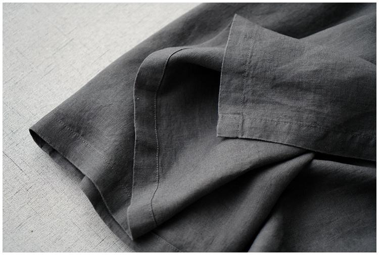 レディース カーディガン 七分袖 リネン ストラップ ワンピースひざ丈スカートロングスカート スカート 濃い灰_画像6