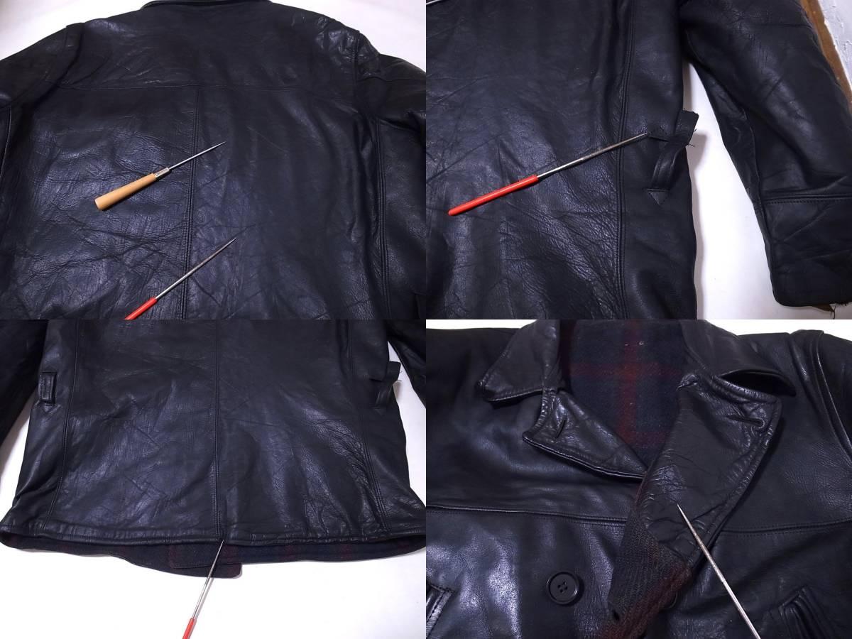 30s40s ホースハイドレザー カーコート ダブルブレスト 黒 /ビンテージ50s60s USN NAVY N-1 デッキ ハトメ 巨人タグ HERCULES ヘラクレス_画像9