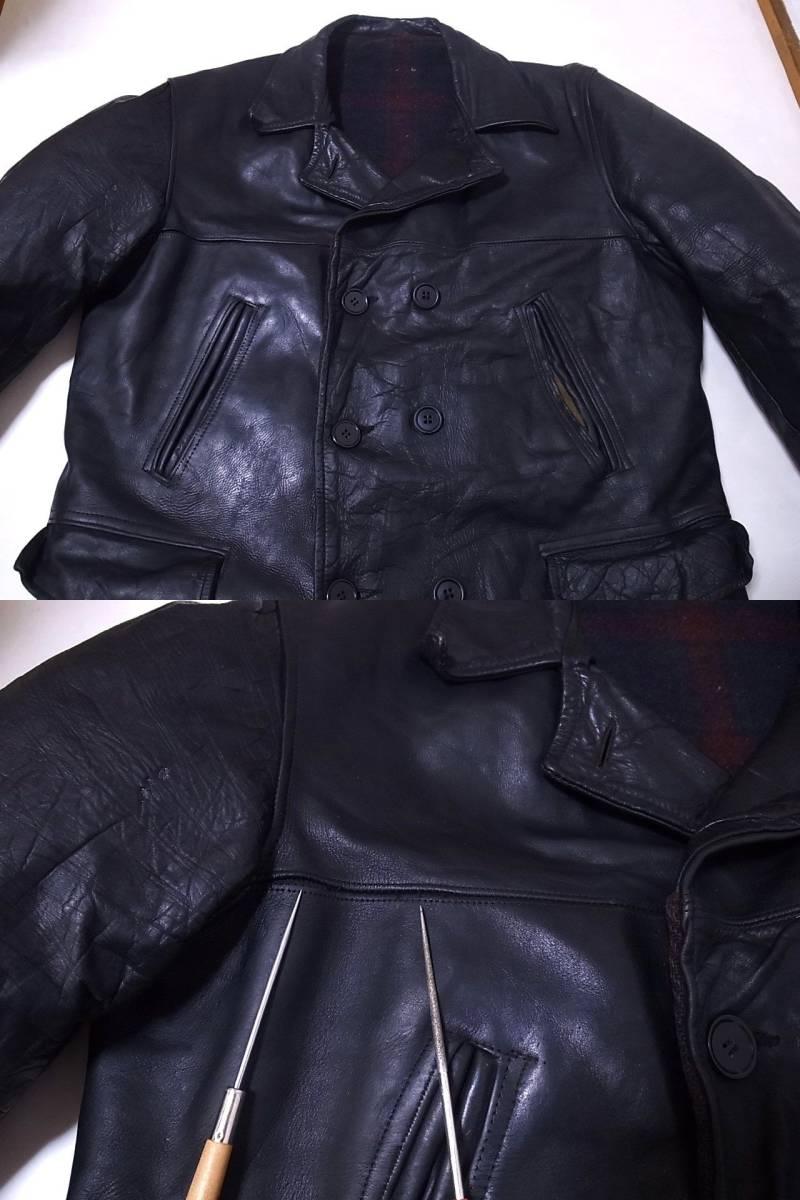 30s40s ホースハイドレザー カーコート ダブルブレスト 黒 /ビンテージ50s60s USN NAVY N-1 デッキ ハトメ 巨人タグ HERCULES ヘラクレス_画像4
