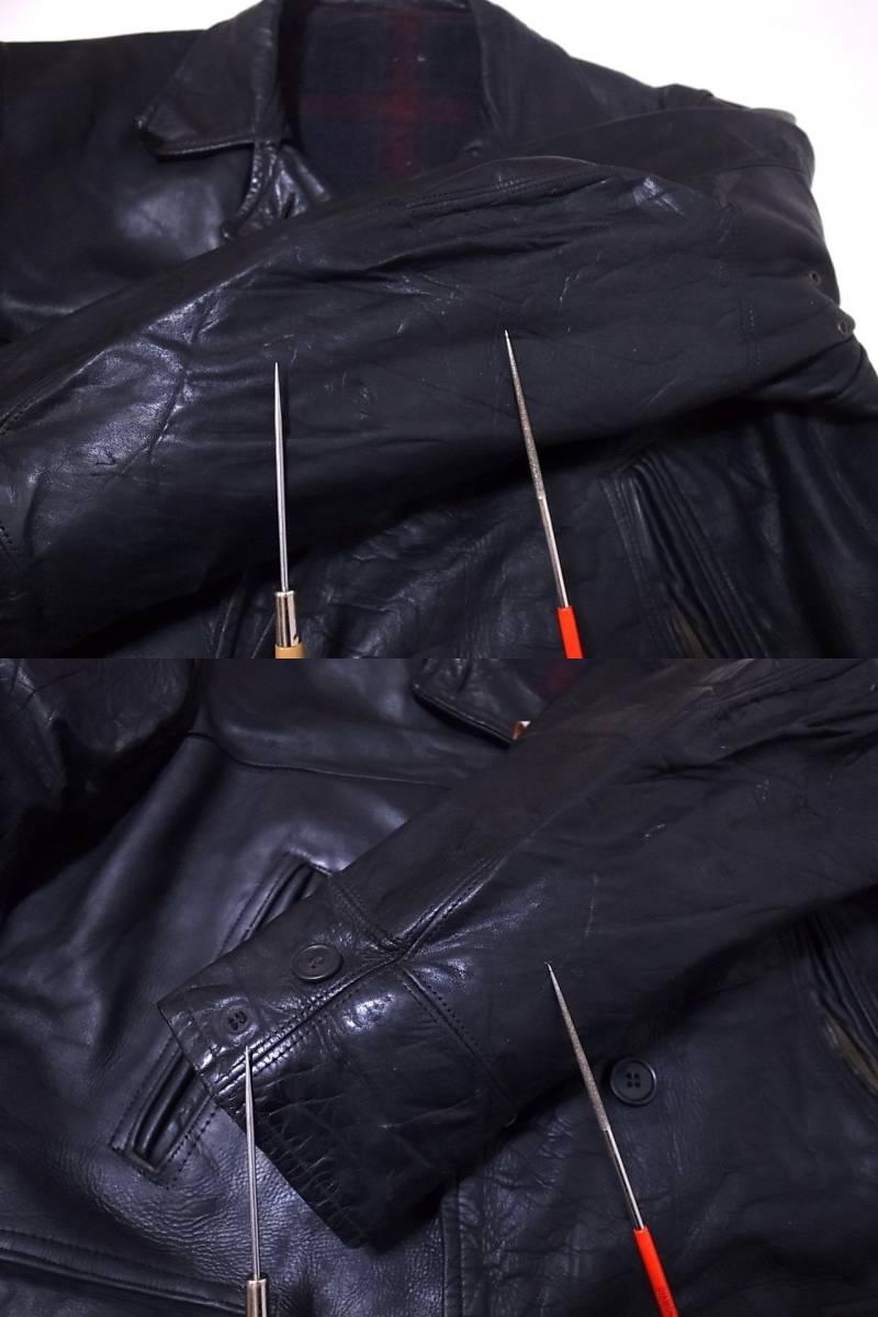 30s40s ホースハイドレザー カーコート ダブルブレスト 黒 /ビンテージ50s60s USN NAVY N-1 デッキ ハトメ 巨人タグ HERCULES ヘラクレス_画像6
