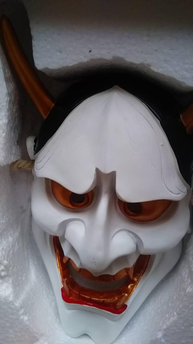 【送料無料】即決 迫力 高級 リアル 般若 白 お面 ホラー鬼日本伝統マスク重量感歌舞伎能面飾りインテリア魔除け飾りコスプレ防犯対策など_画像8