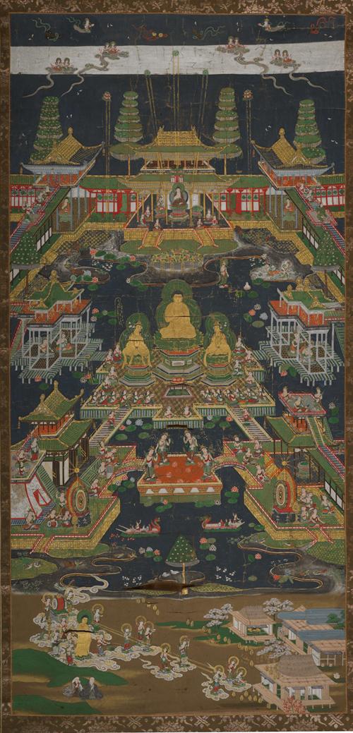 【大和軒】古美術品 /仏教美術 /仏画『智光曼荼羅』肉筆保証 /珍藏品 /本物 稀少!