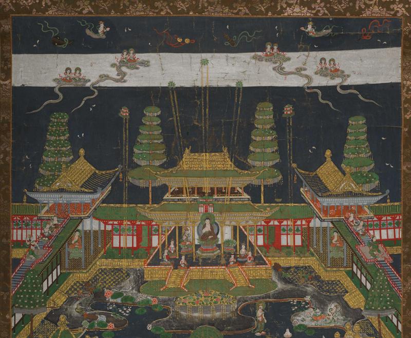 【大和軒】古美術品 /仏教美術 /仏画『智光曼荼羅』肉筆保証 /珍藏品 /本物 稀少!_画像4
