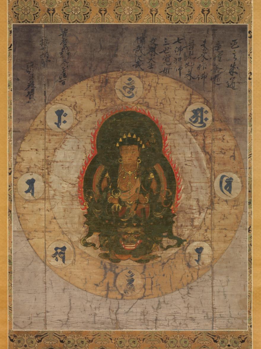 【大和軒】古美術品 /仏教美術 /仏画『八字曼荼羅』肉筆保証 /珍藏品 /本物 稀少!
