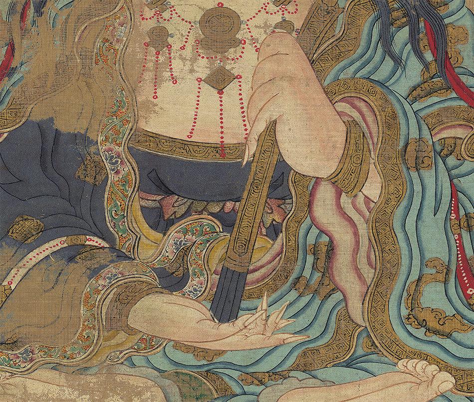 【大和軒】古美術品 /仏教美術 /仏画/鎌倉時代『地藏王菩薩』肉筆保証 /珍藏品 /本物 稀少!_画像3