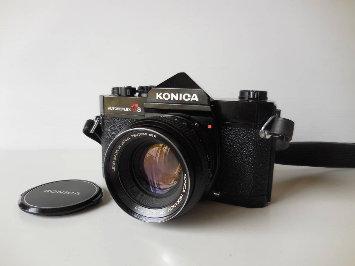 KONICA AUTOREFLEX T3(貴重黒ボディ)単焦点レンズ付き 中古動作品