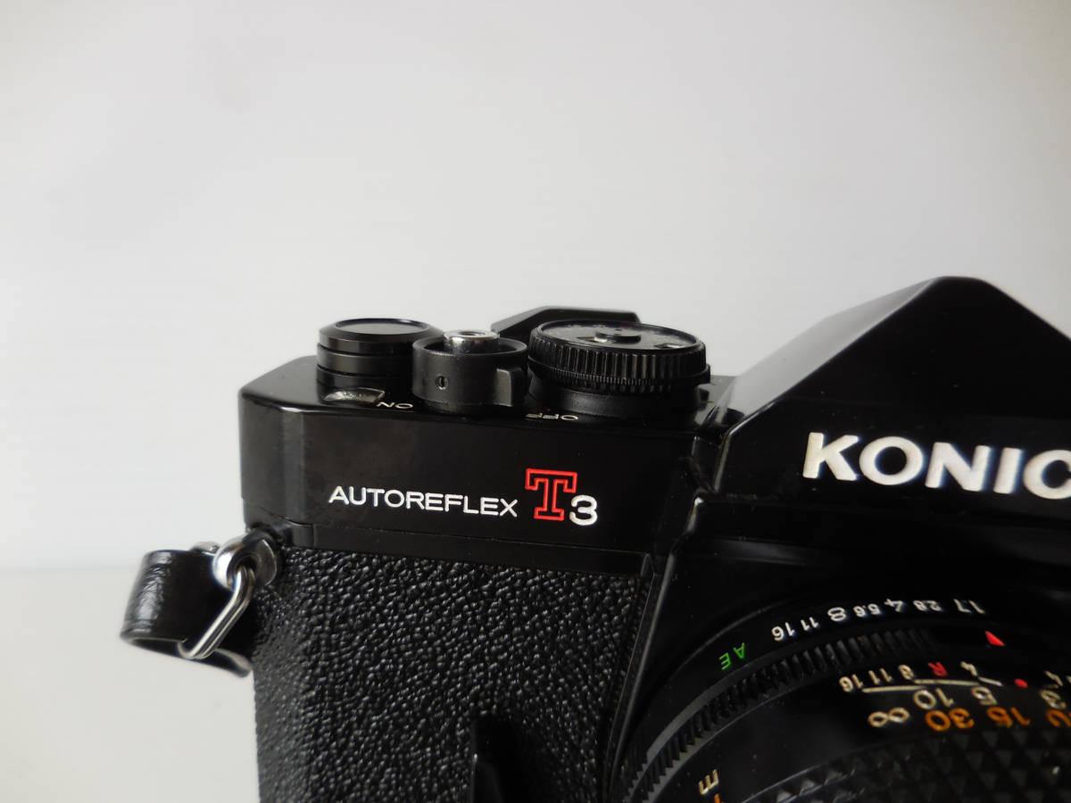 KONICA AUTOREFLEX T3(貴重黒ボディ)単焦点レンズ付き 中古動作品_画像2