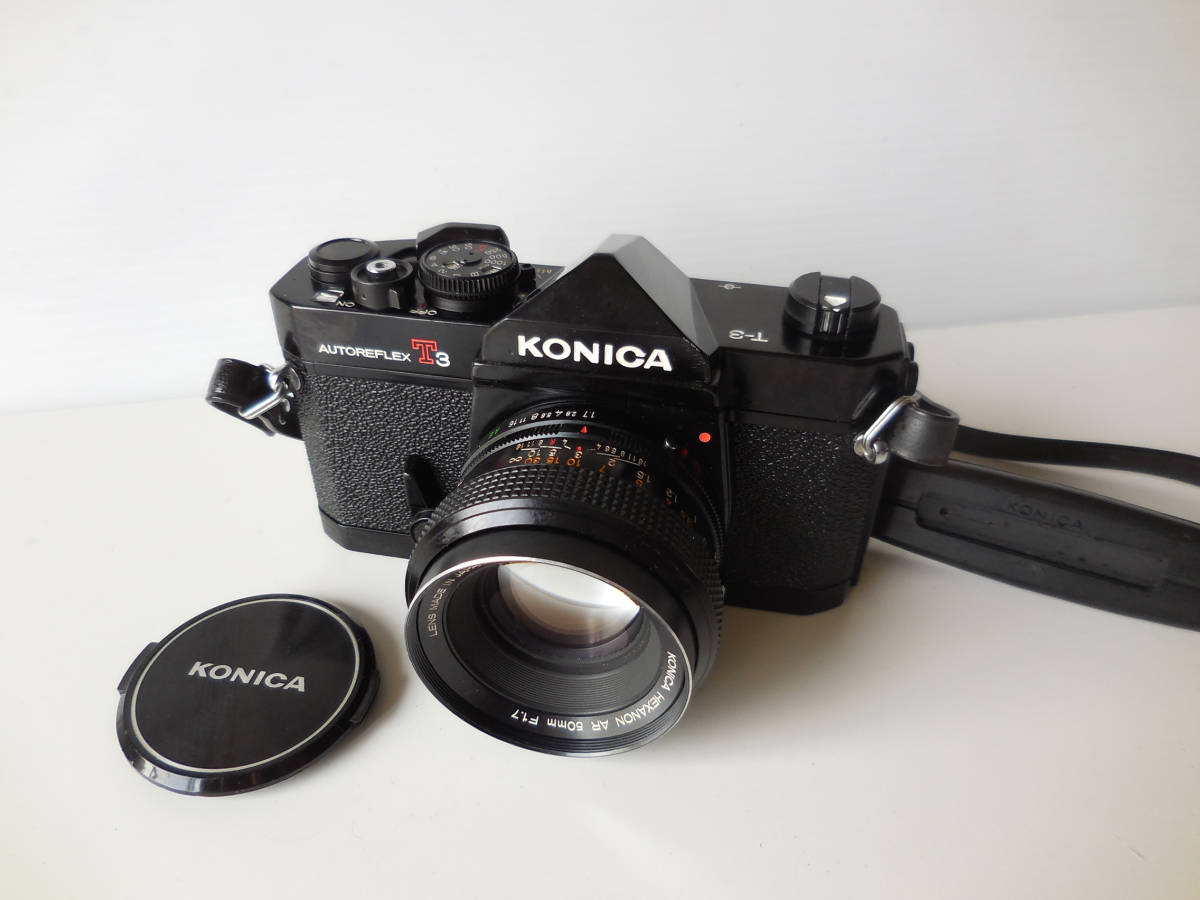 KONICA AUTOREFLEX T3(貴重黒ボディ)単焦点レンズ付き 中古動作品_画像3