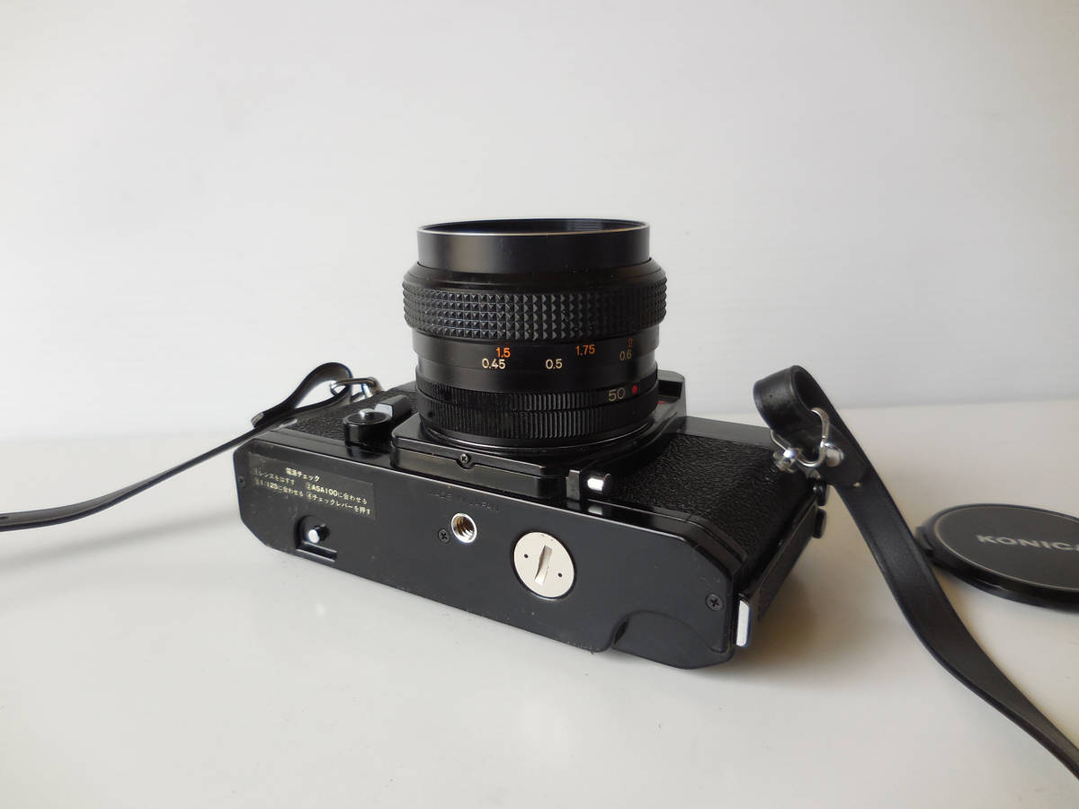KONICA AUTOREFLEX T3(貴重黒ボディ)単焦点レンズ付き 中古動作品_画像4