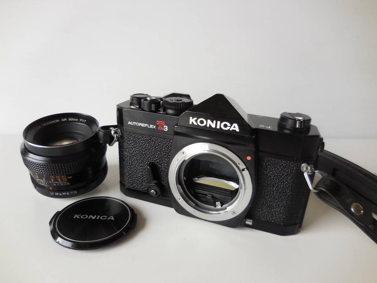 KONICA AUTOREFLEX T3(貴重黒ボディ)単焦点レンズ付き 中古動作品_画像6