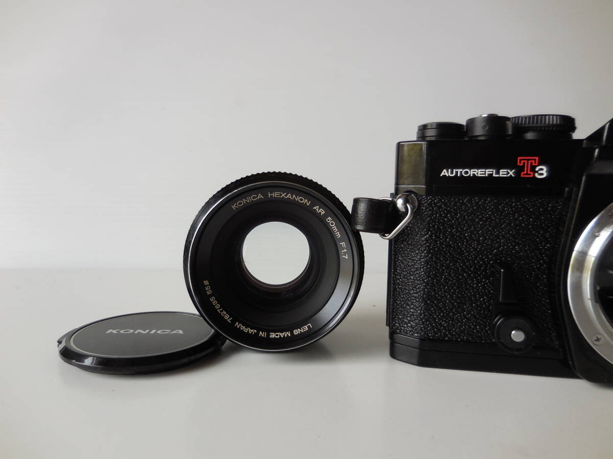 KONICA AUTOREFLEX T3(貴重黒ボディ)単焦点レンズ付き 中古動作品_画像7