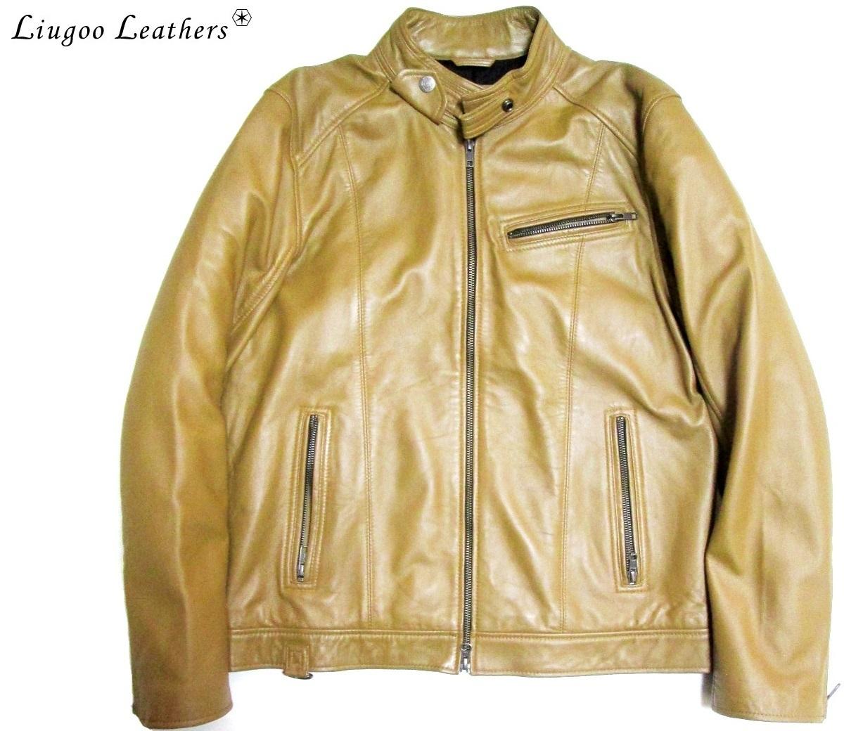 美色 Liugoo Leathers リューグーレザーズ シングルラムレザーライダースジャケット 羊革