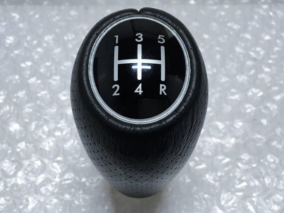 新車外し♪ スバル 純正 レザー シフトノブ 5MT 5速 M12 レガシィ BL BP B4 STI 内装 インテリア インプレッサ フォレスター プレオ_画像1