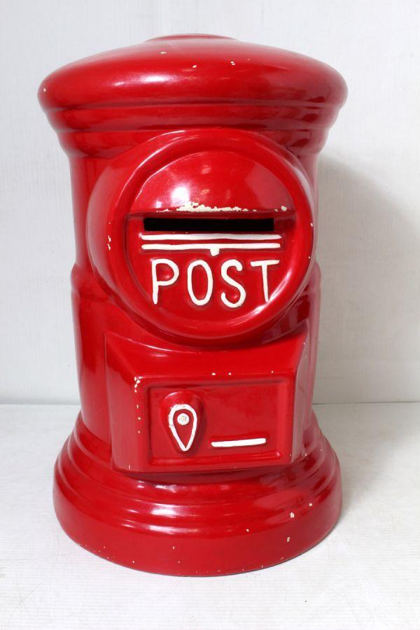 非売品/特大 郵便局 赤色 ポスト型 貯金箱 ゆうちょ 風水 ノベルティ 46cm