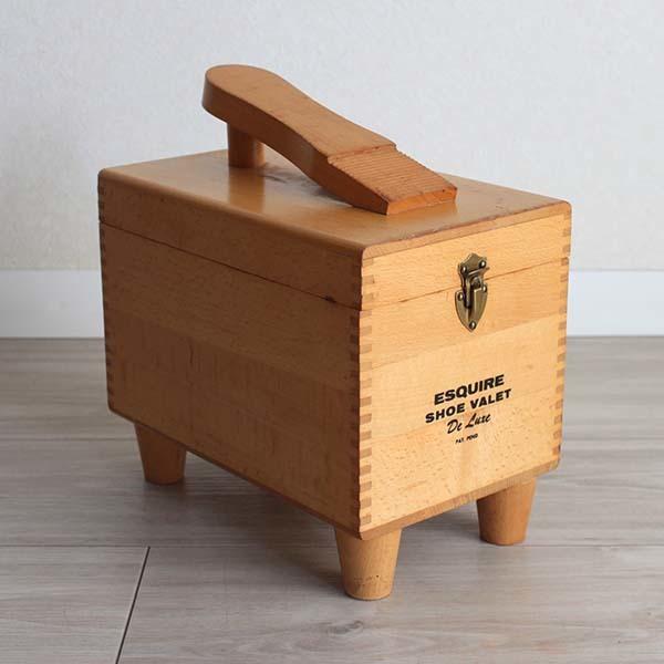 アメリカ製ビンテージ ESQUIRE SHOE VALET 木製シューケアボックス Q037
