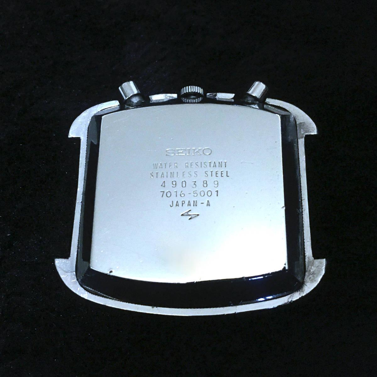 売切 美品 希少 動作品 SEIKO セイコー MONACO モナコ 7016-5001自動巻クロノグラフ 約20年未稼働 輸出専用モデル ビンテージ アンティーク_画像6