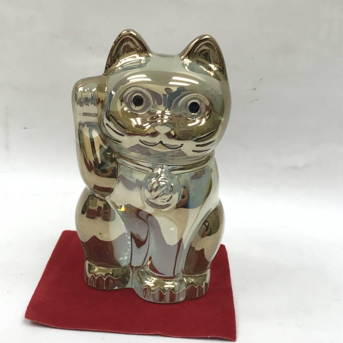 F 保管品 Baccarat バカラ 招き猫 ラッキーキャット ゴールド クリスタル 置物 フィギュリン 高さ 10cm 重さ500g 箱カード_画像3