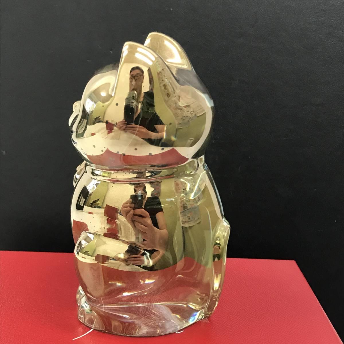 F 保管品 Baccarat バカラ 招き猫 ラッキーキャット ゴールド クリスタル 置物 フィギュリン 高さ 10cm 重さ500g 箱カード_画像5
