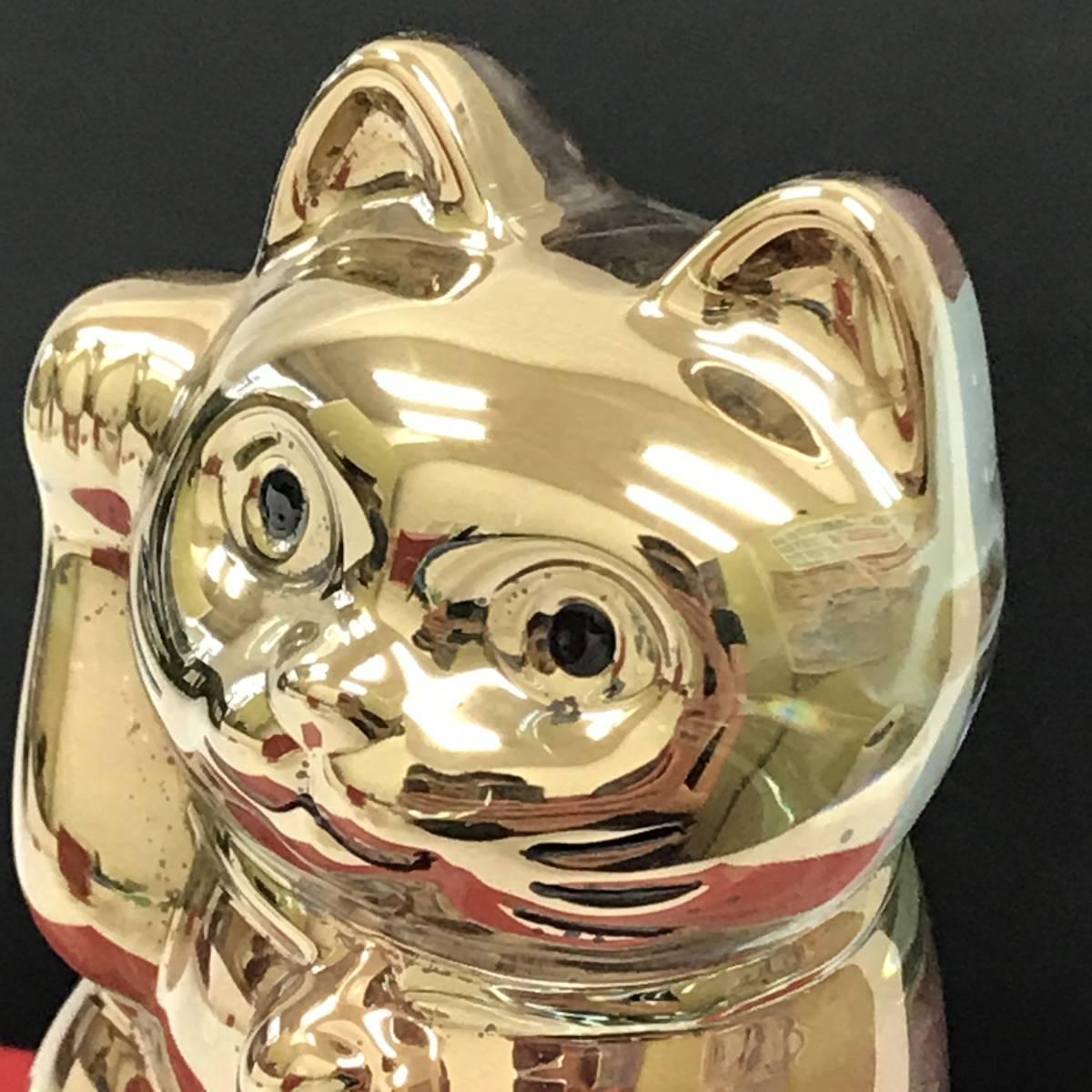 F 保管品 Baccarat バカラ 招き猫 ラッキーキャット ゴールド クリスタル 置物 フィギュリン 高さ 10cm 重さ500g 箱カード_画像8