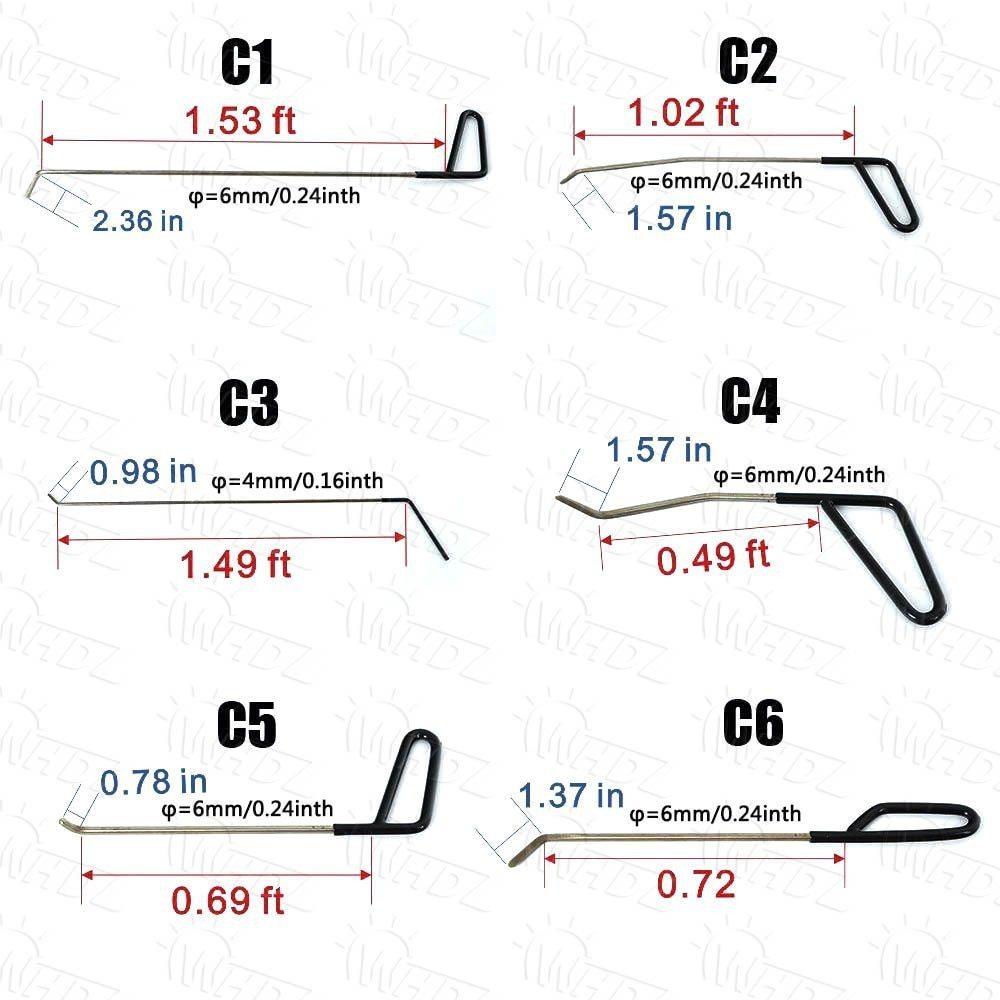 ◇デントツール 自動車 へこみ 修理 ツールキット 凹み リムーバー PDR Pods Tools ロッド 無塗装 補修 板金 工具_画像2