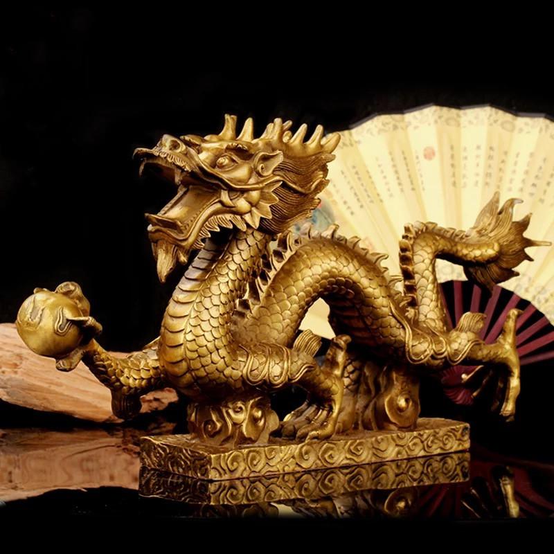 高級上質 高級収蔵品 純銅製 極細工彫刻 【竜】 置物