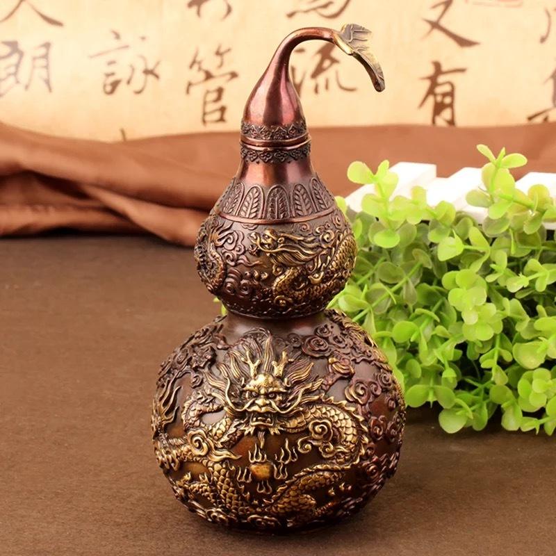 高級上質 高級収蔵品 純銅製 風水開運 鎮宅置物 極細工彫刻 【ひょうたん】 置物