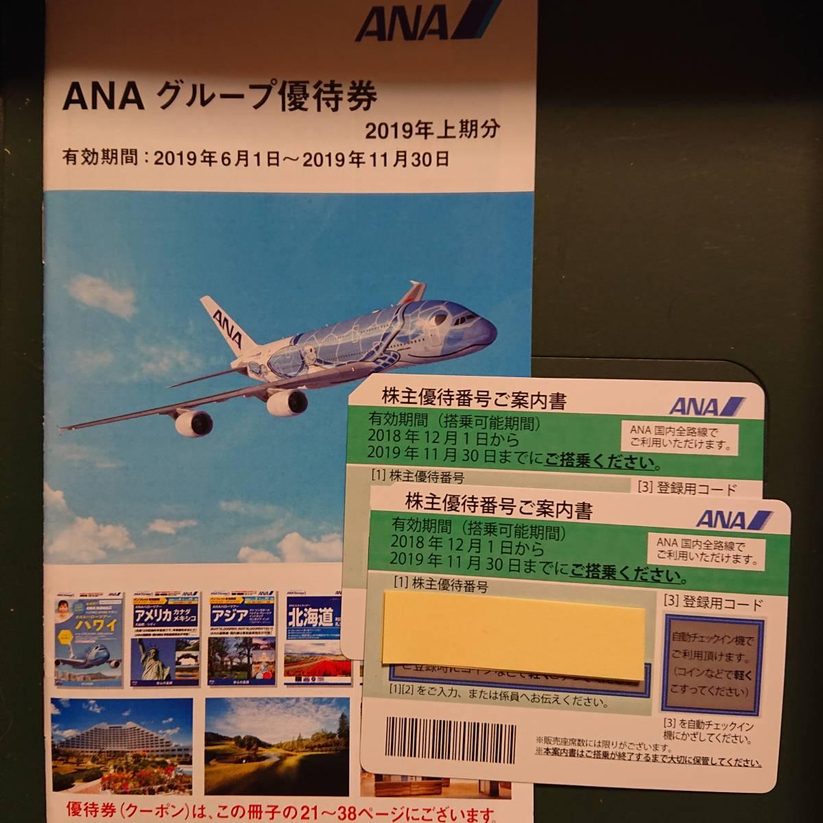 ANA株主優待券2枚セット(有効期限2019年11月30日まで)ANAグループ優待券つき、匿名配送