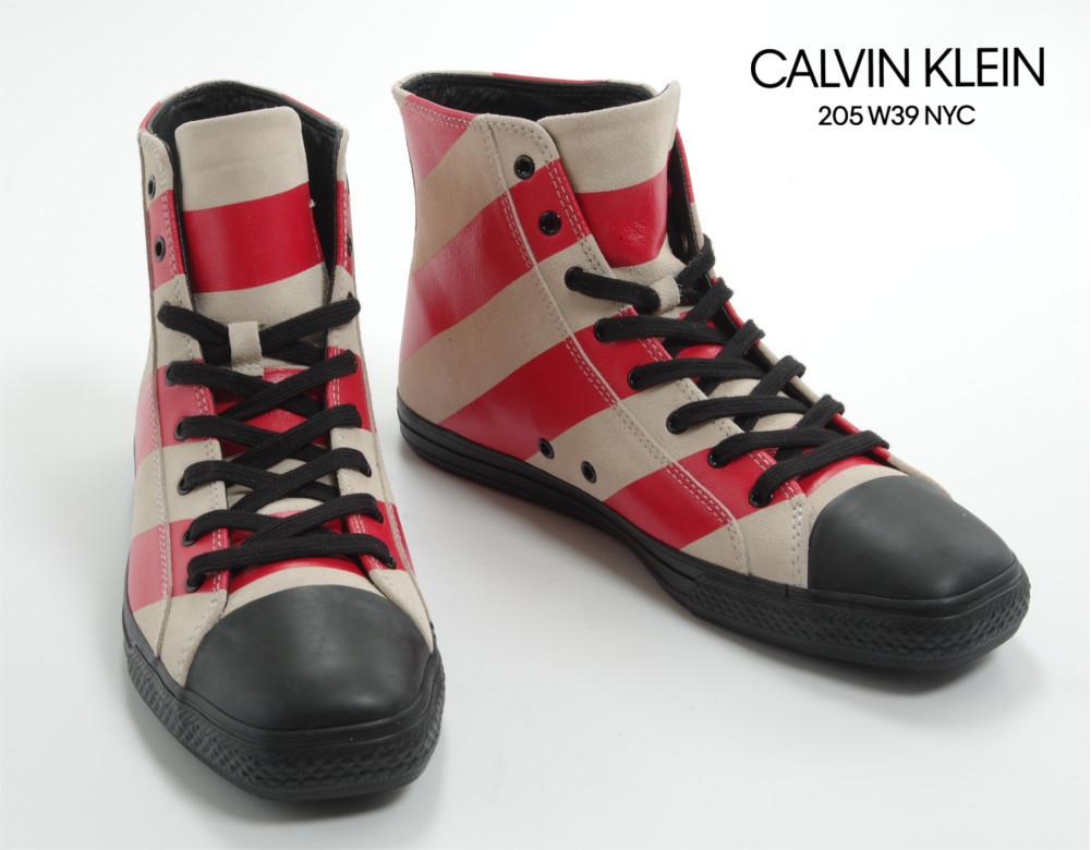 新品 17-18AW CALVIN KLEIN 205W39NYC 【 カルバンクライン 】 ストライプ ハイカットレザースニーカー レッド×クリーム 42.5