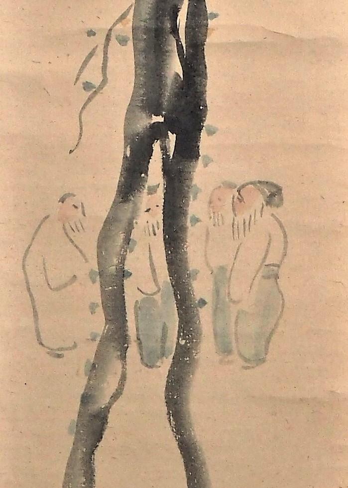 【蔵出】小川芋銭 掛け軸 紙本 水墨 淡彩 肉筆 箱付 日本美術院同人 帝国美術院参与_画像5