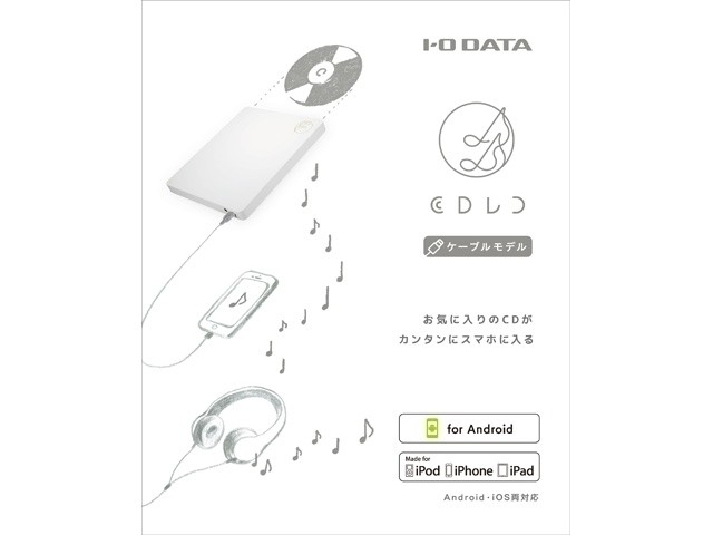 送料無料 未使用!CDRI-LU24IXA CDレコ スマートフォン用CDレコーダー Android、iPhone両対応 USB Type-C接続対応 宅急便コンパクト発送