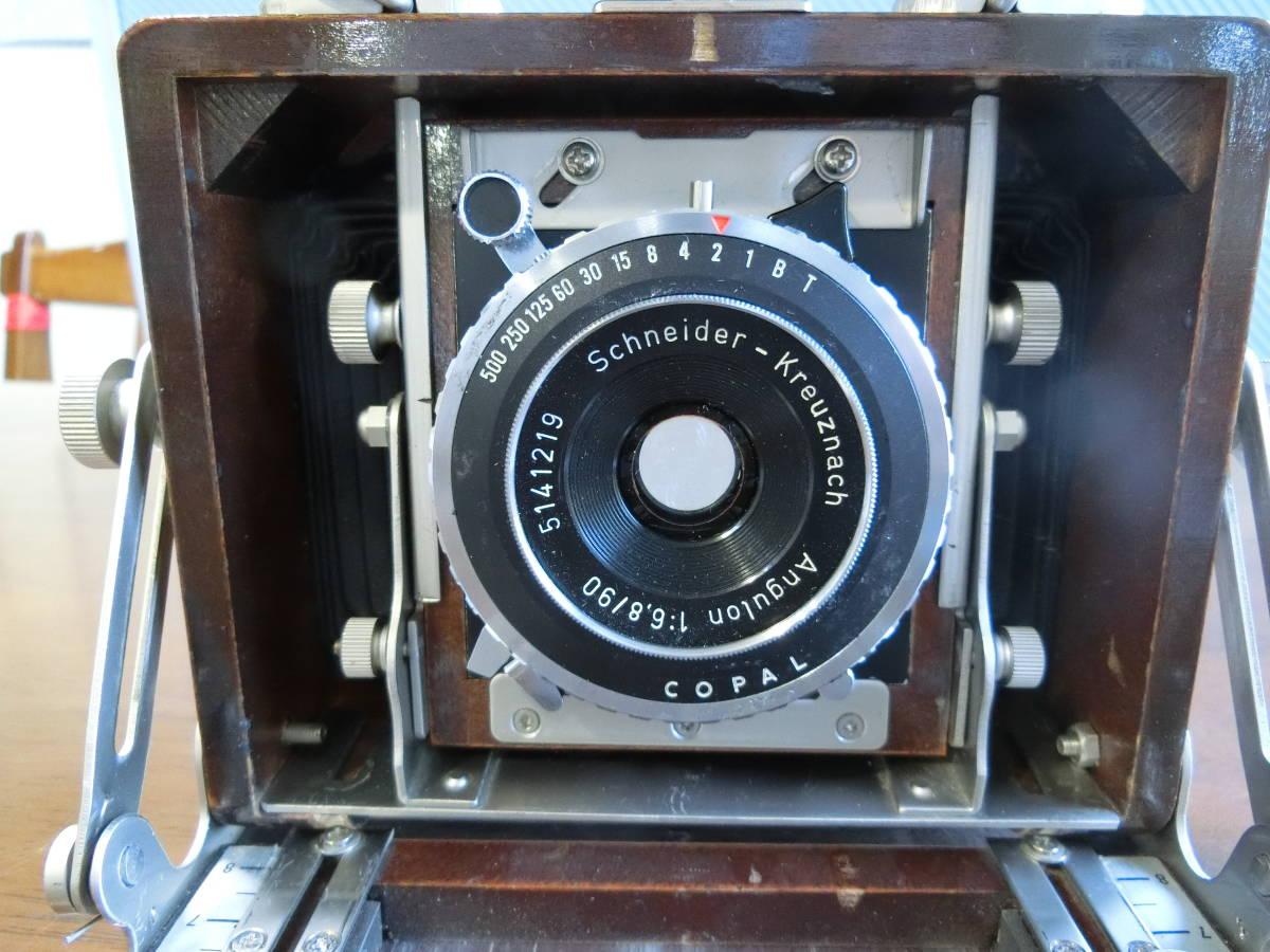 ジャンク Photox フォトックス6789 木製暗箱カメラ  Angulon f6・8 90mm付き_画像8