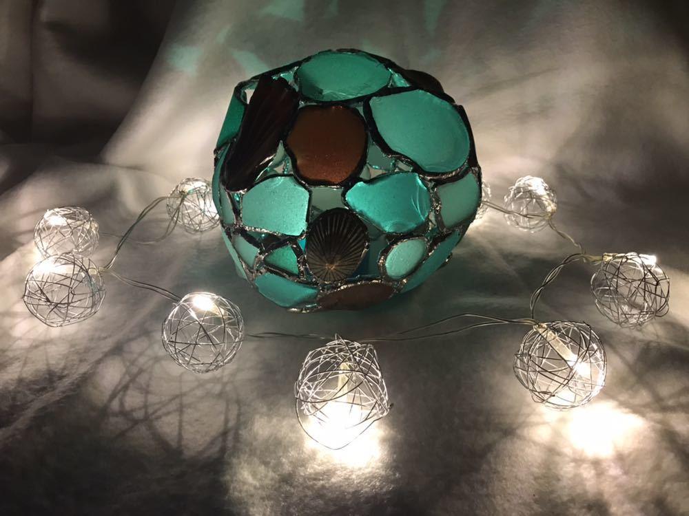 ビーチグラス シェル ステンドグラス風キャンドルカバー ツリー シーグラス 瀬戸内海 シーグラスアート_画像5