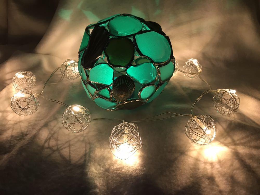 ビーチグラス シェル ステンドグラス風キャンドルカバー ツリー シーグラス 瀬戸内海 シーグラスアート_画像3