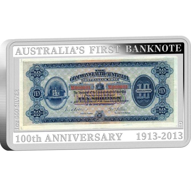 2013 オーストラリア 紙幣発行100周年記念 プルーフ 1 オンス 銀貨と切手 セット 完全未使用品_画像2