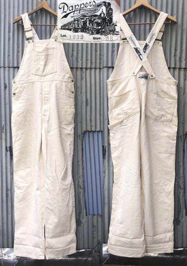 即決!18年購入 Dapper's ダッパーズ オフホワイト ローバック オーバーオール size 38 日本製 1232