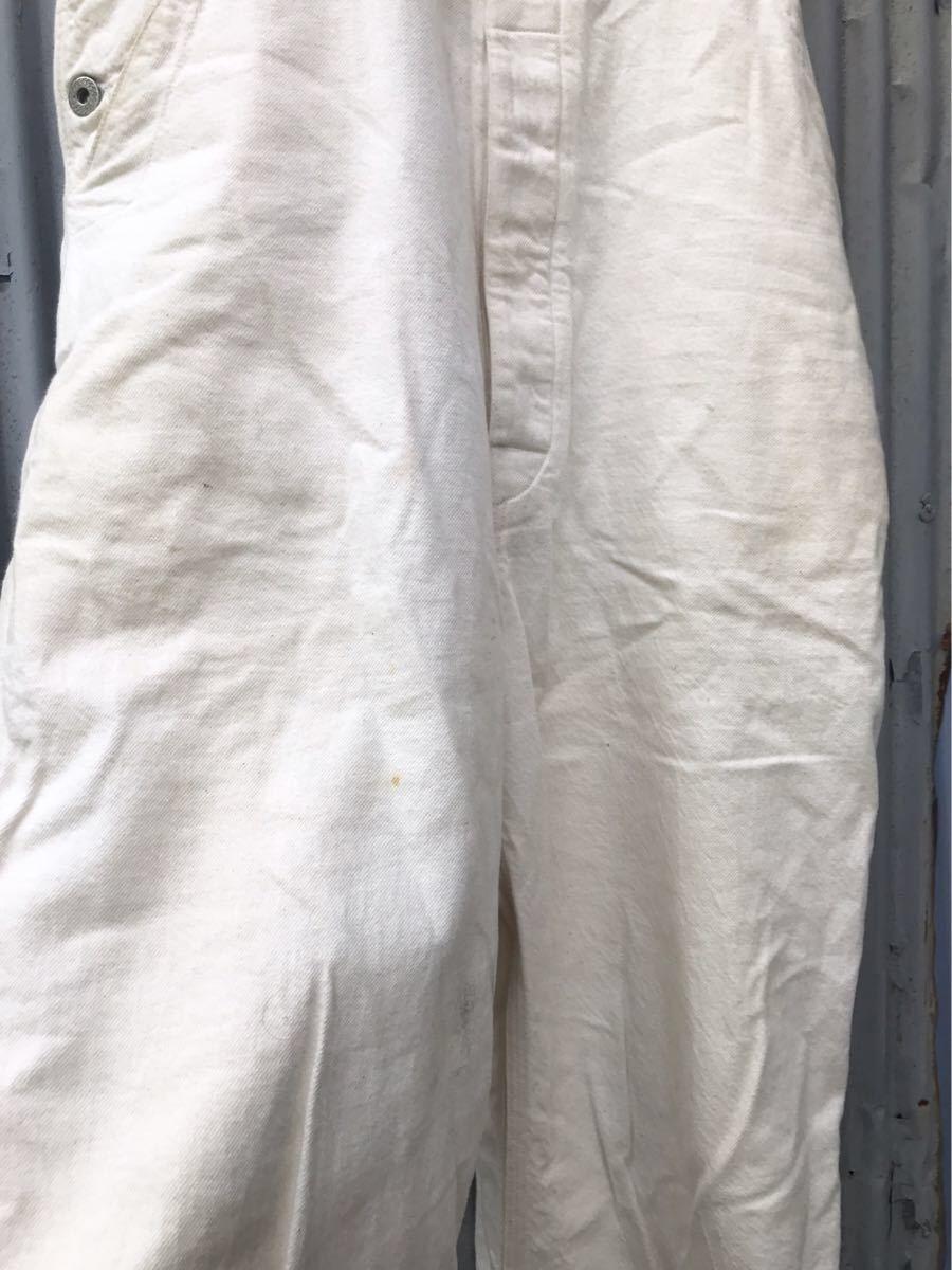 即決!18年購入 Dapper's ダッパーズ オフホワイト ローバック オーバーオール size 38 日本製 1232_画像4