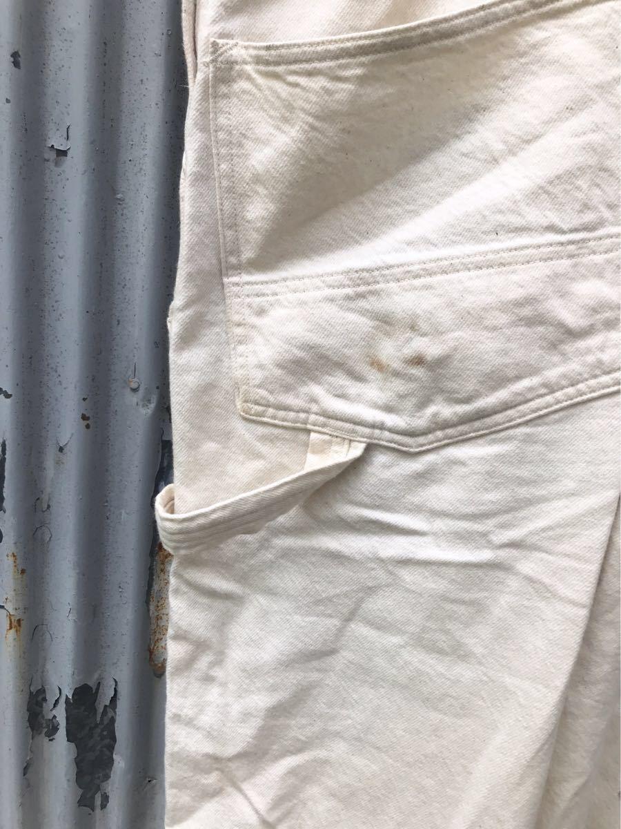 即決!18年購入 Dapper's ダッパーズ オフホワイト ローバック オーバーオール size 38 日本製 1232_画像5
