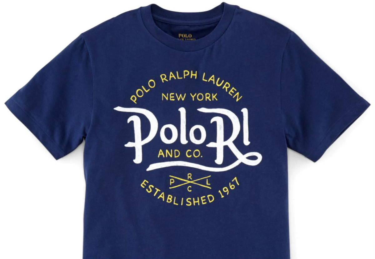 新品タグ付き【 ラルフローレン 】コットンTシャツ L~LL 《 US規格 Boys XL 》 ネイビー 紺 POLO RALPH LAUREN 正規品_画像2