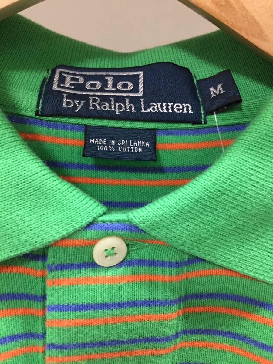 新品 M サイズ ポロ ラルフローレン POLO RALPH LAUREN 半袖 ポロシャツ ボーダー ストライプ ワンポイント ロゴ クラシック