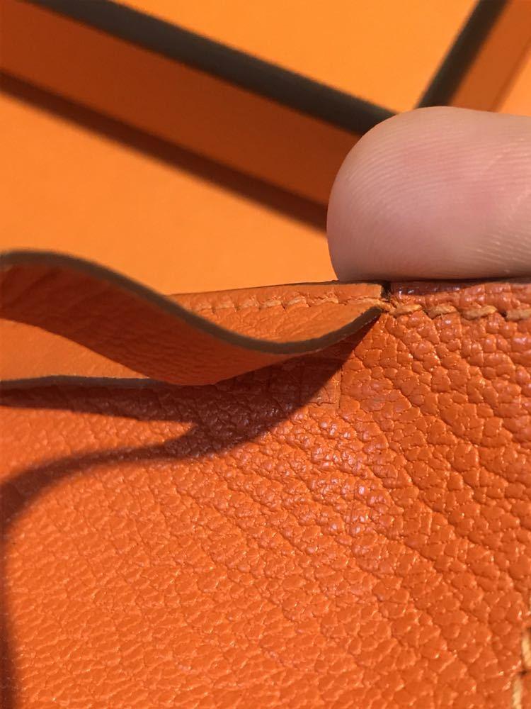 送料225円~!HERMES レザー パスケース パスホルダー カードホルダー オレンジ_画像4